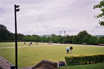 Playing bowls in Lister Park, Manningham, Bradford, West Yorkshire