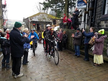BBC charity tandem cycle ride in Haworth