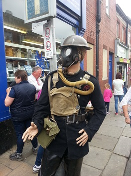 Warden with gas mask the Brighouse 1940s Weekend