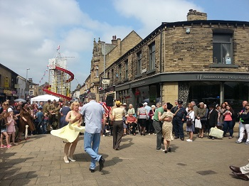 Dancing in the street at the Brighouse 1940s Weekend