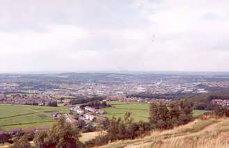 View from Castle Hill, Huddersfield, Kirklees, West Yorkshire - looking north across the town of Huddersfield