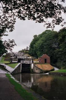 The Five Rise Locks on the Leeds Liverpool canal at Bingley