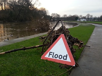 Aftermath of flooding in Roberts Park, Saltaire