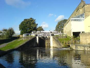 The Leeds Liverpool canal at the Three Rise Locks near Bingley