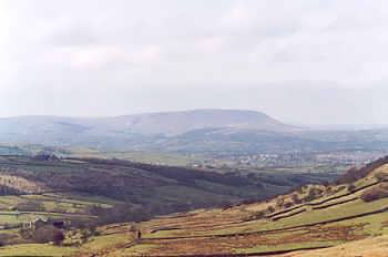 Pendle Hill, viewed from the Stanbury to Colne road
