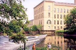 The River Aire at Salt's Mill, Saltaire, Bradford, Yorkshire